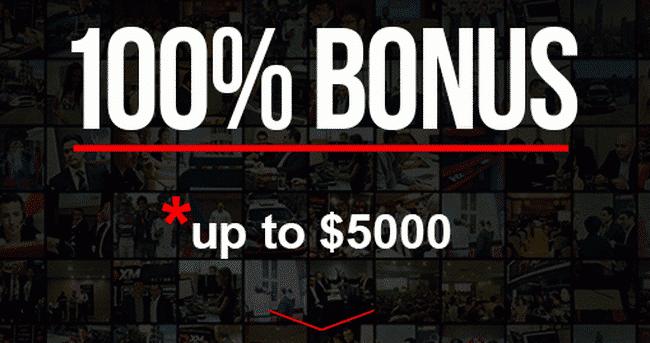 Бонус на пополнение 100% до 5000$ от XM