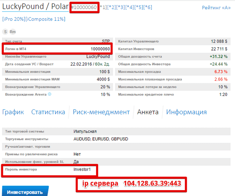 Инвесторский пароль ice-fx
